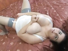 Chubby white wife in lingerie gets interracial anal