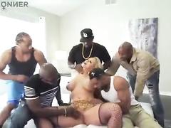 Blonde white tattoed wife interracial gangbang w dp