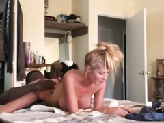 Amateur blonde wife gets BBC spitroasted by two bulls