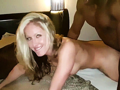 White blonde hotwife interracial doggystyle